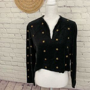 Vintage 80s / 90s velvet cropped top with stars